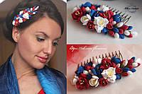 """""""Фрезии: синий+белый+красный"""" Гребень для волос с цветами из полимерной глины."""