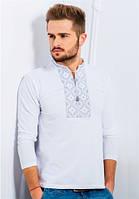 Мужская футболка с вышивкой длинный рукав