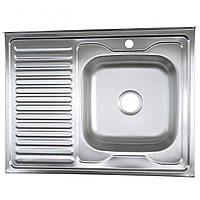 Мойка кухонная накладная 8060 электро-сатин Platinum 0,6 мм глубина 16 см