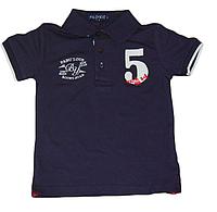 Детская футболка-поло (батник с воротником) для мальчика синяя с цифрами Венгрия