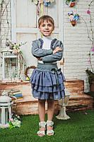 Костюм для девочки с болеро серый, фото 1
