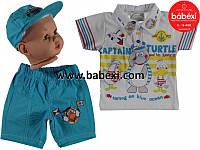 Костюм на мальчика поло+шорты+кепка 1,2,3 года