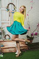 Костюм женский летний с юбкой желтый, фото 1