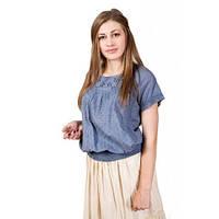 Качественная хлопковая блуза модного кроя на лето