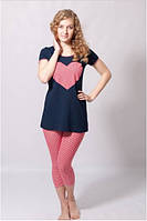 Пижама женская WIKTORIA кофта с коротким рукавом, брюки (домашняя одежда)