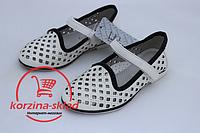 Детские туфли белые на девочку / школьные