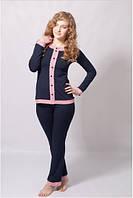 Пижама женская WIKTORIA кофта с длинным рукавом, брюки (домашняя одежда)