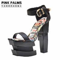 Эксклюзив !!! Pinkpalms новые 2015 европейские подиум яркие босоножки 4 цвета