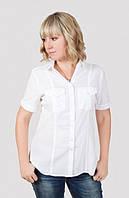 Офисная  белая блуза модного кроя на пуговицах от производителя