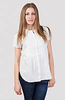 Легкая белая блуза  с коротким рукавом на лето
