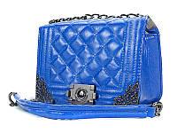 Женская синяя сумка Chanel Boy Elektric