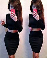 Женский модный костюм: топ и юбка с высокой талией (расцветки)