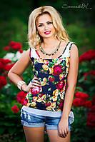ТУНИКА летняя цветочный принт Шифоновая блуза