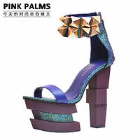 Эксклюзив !!! Pinkpalms 2015 европейские подиум яркие туфли 3 цвета