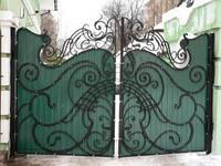 Ворота въездные во двор с калиткой из профильного листа, Хмельницкий