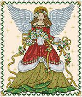 Набор для вышивания крестиком Ангел в цветах рождества. Размер: 26,5*31 см