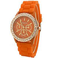 Часы Женева в стразах : Оранжевые в золотом корпусе