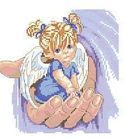 Набор для вышивания крестиком Ангелок в руке. Размер: 14,5*15 см