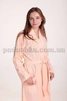 Халат женский трикотажный MELISA персиковый с длинным рукавом S