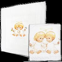 Крыжма (плед) для крещения младенца, изготовлена из рваной махры, ТМ Ромашка, 100х90 см, рисунок 30х30 см