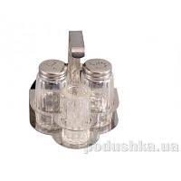 Набор для приправ Gipfel 4 пр. (стеклянные солонка и перечница, баночка для зубочисток на стальной подставке с отделением для салфеток)