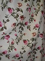 Ткань в стиле прованс, рисунок розочки, на бежевом фоне