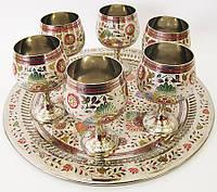 Бокалы бронзовые хром на круглом подносе Индия*