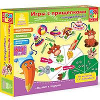 Игра с прищепками + шнуровка Животные VT1604-01 Vladi Toys
