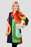 Стильная женская халат-туника больших размеров в ярких расцветках