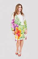 Молодежное платье туника из натуральной ткани с модным принтом