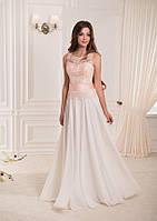 Элегантное, длинное платье с кружевом и широким поясом