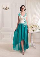 Асимметричное платье декорированное тканевыми цветами