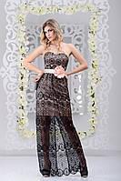 Модное вечернее платье покрыто гипюром по всей длине