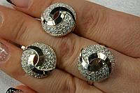 Комплект украшений из серебра и золота - кольцо и серьги круглой формы