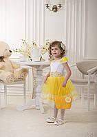 Яркое детское платье с цветочной аппликацией