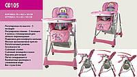 Стульчик для кормления C 0105 с 4 колесами розовый