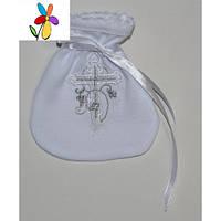 Мешочек крестильный для волос Белая вышивка 10 х 12 см