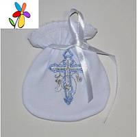 Мешочек крестильный для волос Голубая вышивка 10 х 12 см