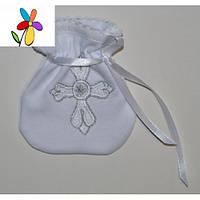 Крестильный мешочек для волос Крестик Белая вышивка 10 х 12 см