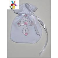 Мешочек для волос крестильный Крестик Розовая вышивка 10 х 12 см