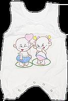 Песочник-майка с вышивкой, кнопки на внизу, тонкий хлопок (мультирипп), ТМ ЛиО, р. 68, 74 Украина