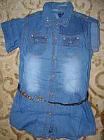 Рубашка -туника джинсовая  с пояском 5-8 лет