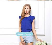 Новинка! Летняя стильная женская шифоновая блузка без рукавов, женский летний топ, цвет - синий