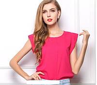 Новинка! Летняя стильная женская шифоновая блузка без рукавов, женский летний топ, цвет - роза