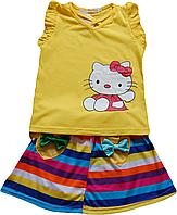 Детский комплект для девочки двойка (юбка с разноцветными полосами и майка с китти), желтый, радуга