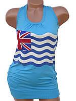 """Женская майка """"Британский флаг"""" (в расцветках 44-46)"""