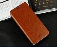 Кожаный чехол книжка Mofi для Samsung Galaxy Alpha G850F коричневый