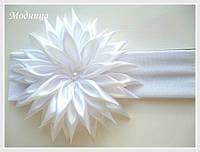 Повязка для волос с хризантемой, ручная работа
