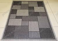 Безворсовый ковер-рогожка Balta Decora квадраты серый