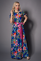Красочное летнее платье длинное в пол с атласным поясом